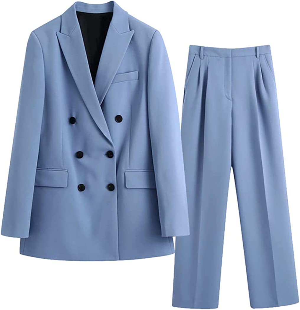Office Lady Blazer Jacket Coat and Pant 2 Piece Set, Women Spring Autumn Elegant Casual Suits Outfits