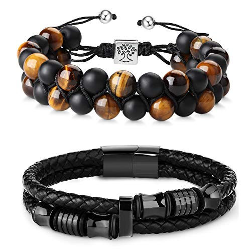 FIBO STEEL Beaded Bracelets set Natural Stone Tiger Eye Mens Braided Leather Bracelet Bangle Rope