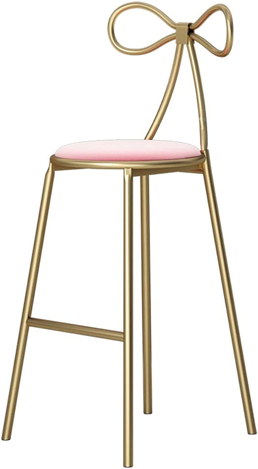 Manicure Shop High Foot Iron Art Bar Chairs Modern Simple Designer Soft Seat Creative Casual Dining Chair 0522A (color   Pink, Size   65cm Seat Height)