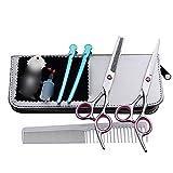 PYROJEWEL 6 Pulgadas de Corte de Pelo peluquería Profesional, Plana + Diente de Tijera Corte de Pelo Set Tijeras (Color: Rosa)