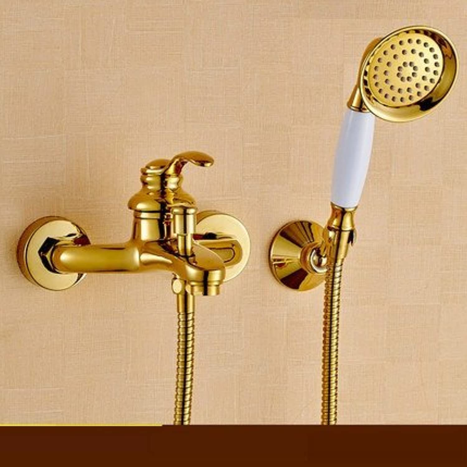 Bijjaladeva Antique Bathroom Sink Vessel Faucet Basin Mixer Tap Hand held shower gold plated shower kit full copper heated wall mounted faucets