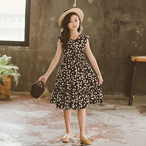 YZZ Abito in chiffon estate delle ragazze nuovo margherita Gonna Esteri bambini Papillon principessa floreale Dress UK (Size : 120cm)