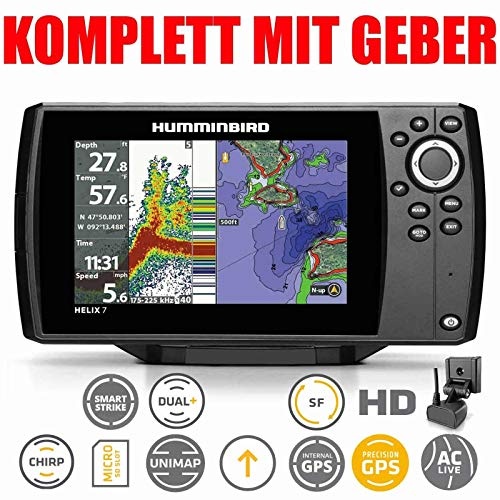 Humminbird Echolot GPS Kartenplotter Komplett mit Geber - Helix 7 Chirp GPS G3
