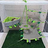 5 pieces/Set Cage Nest Set for Sugar Glider, Hamster, Squirrel, Marmoset, Chinchillas, Small Exotic Pet Cage Set Green & Grey Color