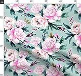 Rosa, Blau, Blumen, Vintage, Türkis Stoffe - Individuell