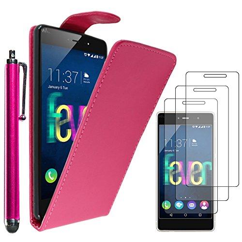 ebestStar - kompatibel mit Wiko Fever 4G Hülle Etui mit Klappe, PU Kunstleder Handyhülle Schutzhülle Hülle Cover + Stift +3 Schutzfolies, Pink [Phone: 148 x 73.8 x 8.3mm, 5.2'']