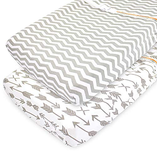 Changing Pad Cover Sheets Set 2 Pack Universal Fitted Changing Table Covers for 32x15x5 Pads Superior Softness Lifetime Durability  Shrink Proof 180 GSM Jersey Cotton Grey