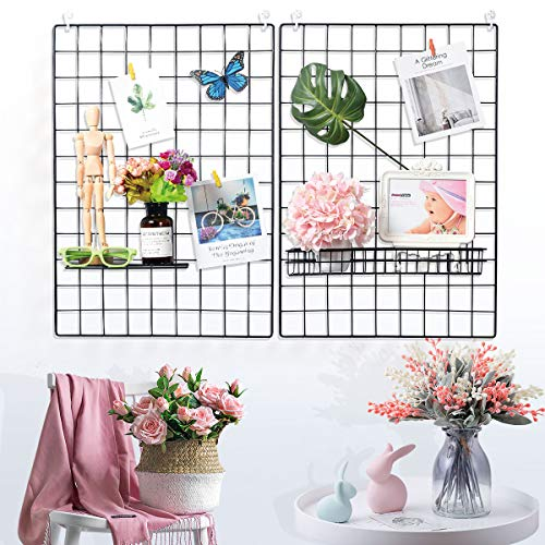 "Yuntec Grid Photo Wall (2 Packs), 25.6"" x 17.7"" Grid Wall Panel Display Decor Iron Rack Photo Hanging Grid Photo Hanger…"