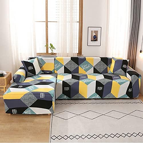 PPOS Funda elástica para sofá de Esquina para Sala de Estar, sillón, sofá Gris, sofá seccional, Funda para Chaise, salón con península D4, 4 plazas, 235-300cm-1pc