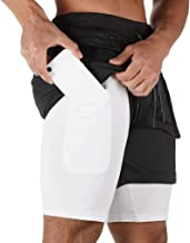 BOOMLEMON Men's 2 in 1 Running Shorts Gym Workout Quick Dry Inner Compression Short Pants with Zip Pocket