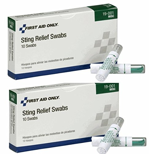 First Aid Only Insect and Bee Sting and Bite Pain Relief Swabs (2 Boxes of 10)