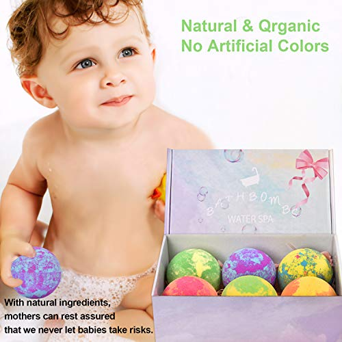 6 Large Bath Bombs for Kids with Surprise Toys Inside, Kids Safe Organic Bubble Bath Bombs Gift Set, Natural Vegan Essential Oil Spa Bath Bombs for Kids Girls Boys Birthday (4.2 oz) 5