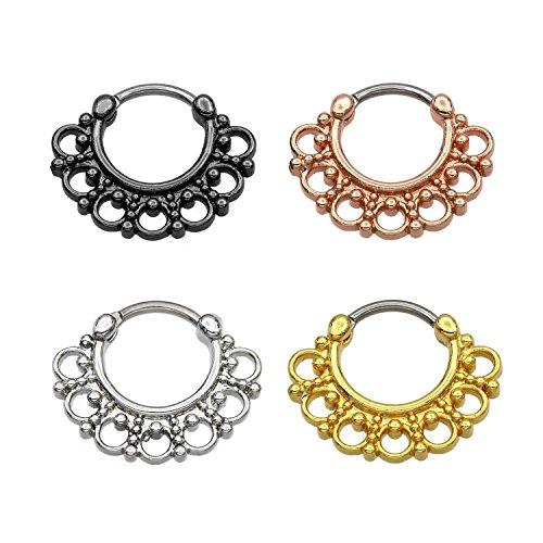 KARISMA Titanio G23setto Clicker Segment Anello Naso Anello Piercing Naso di 1,2X 8mm TSC H003, Titanio, Colore: Oro Rosa, cod. TSC-H003