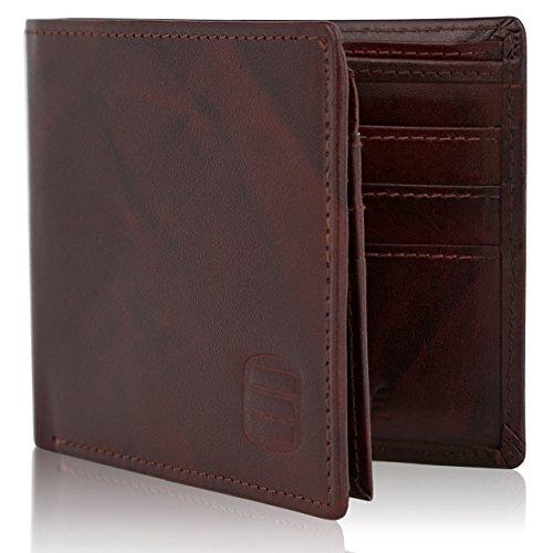 Suvelle in vera pelle RFID Blocco Portafoglio Bifold Portafoglio da viaggio, da uomo, Slim wr98 Brown Bi-fold WR98