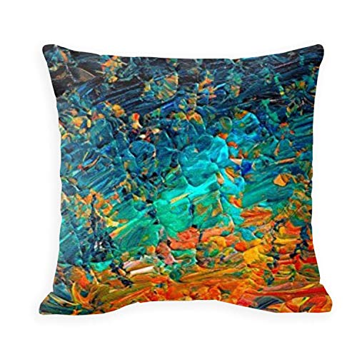 SPXUBZ Eternal Tide Rainbow Ombre Ocean Waves Abstract Acrylic Painting Summer Colorful Beach Blue Orange PillowCover Decorative Home Decor Square Indoor/Outdoor Pillowcase Size 18x18 Inch(Two Sides)