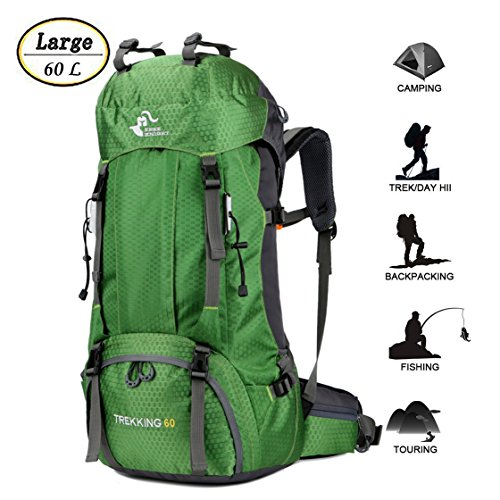 60L Waterproof Lightweight Hiking Backpack with Rain Cover,Outdoor Sport Travel Daypack for Climbing Camping Touring (Green)