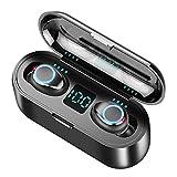 Mississ 2019 nuevos auriculares Bluetooth F9 TWS 5.0 sin cables, pantalla digital de luz transpirable Touch 8D Surround estéreo Mini Invisible doble micrófono auriculares