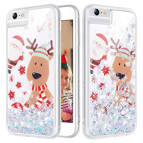 Caka iPhone 7 Plus Case, iPhone 6 Plus 6S Plus 7 Plus 8 Plus Christmas Case Glitter for Women Girls Flowing Liquid Luxury Bling Sparkle Soft TPU Case for iPhone 6 Plus 6S Plus 7 Plus 8 Plus (Moose)