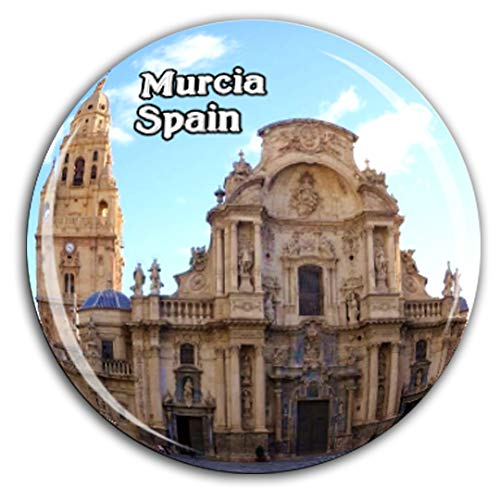 Catedral de Santa María Murcia España Imán de Nevera Cristal 3D Cristal Ciudad Turística Recuerdo de Viaje Colección Regalo Fuerte Refrigerador Pegatina