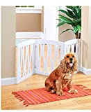 Zoogamo 3 Panel White Wooden Waves Design Pet Gate - Freestanding Tri Fold Durable Wooden Dog Fence - Indoor/Outdoor Barrier for Stairs & Doorways