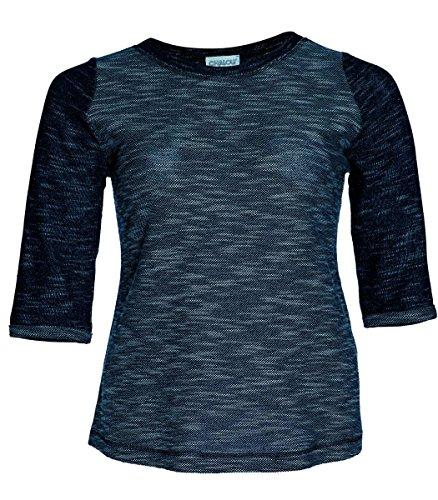 Chalou T-Shirt Pullover Frühling Sommer Sweatshirt für Mollige Damen meliert Stretch Blau, Größe:40