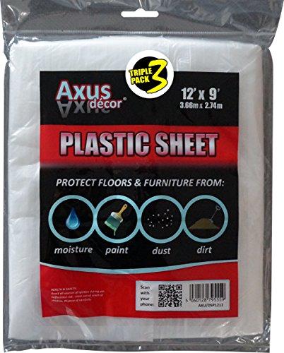 Axus Decor AXU/DSP1293 Dust Sheet, Colourless, 12' x 9' (3.66m x 2.74m), Set of 3 Pieces