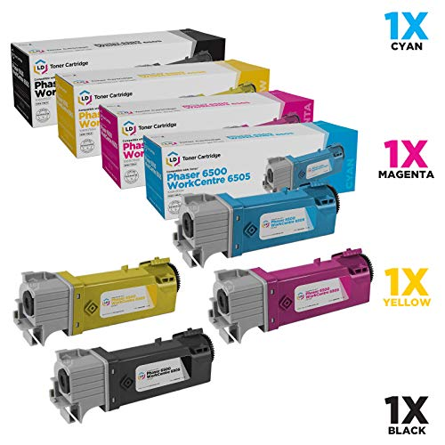 LD Compatible Toner Cartridge Replacements for Xerox Phaser 6500 & Workcentre 6505 High Yield (1 Black, 1 Cyan, 1 Magenta, 1 Yellow, 4-Pack)