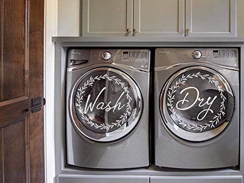 Wash Dry Floral Wreath Sticker Decal for Washing Machine Washer and Dryer, Vinyl, Removable