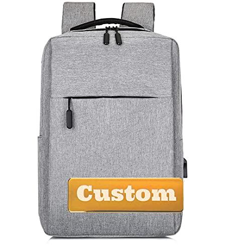 FireH Monedero Personalizado de Nombre Personalizado Mochila portátil para Mujeres 15.6 Pulgadas 15.6 con USB (Color : Grey, Size : One Size)