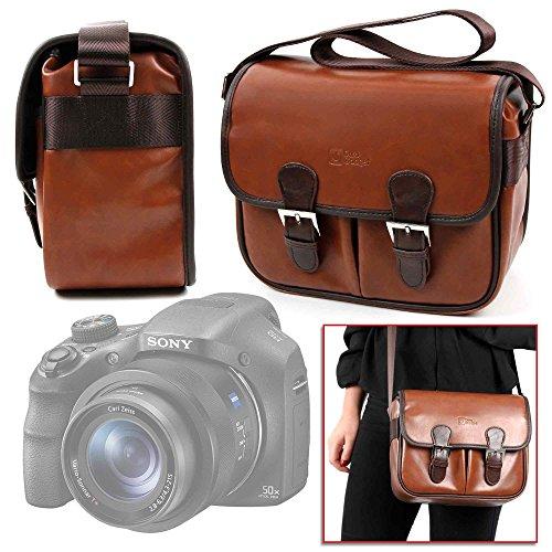 DURAGADGET Bolsa Profesional marrón con Compartimentos para Cámara Sony DSC-HX350