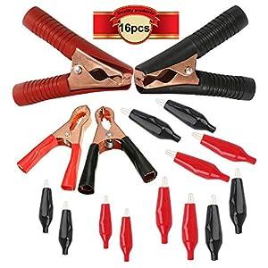 CESFONJER 16 Piezas de Pinzas de Cocodrilo, Pinzas para Cables de Batería, Juego de Pinzas de Cocodrilo de Hardware a…