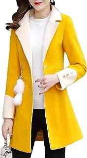 Macondoo Women Basic Outwear Single Breasted Notch Lapel Pea Coat