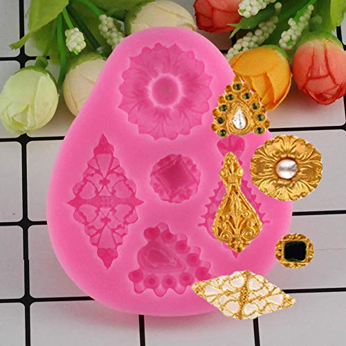 ZHQIC Gem Diamond Shape Silicone Fondant Molds Vintage Charming Jewelry Cake Decorating Tools Candy Chocolate Gumpaste Moulds