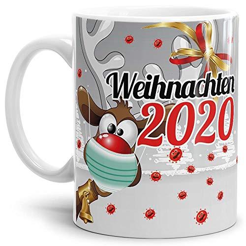 Geschenk Tasse - Rentier - Weihnachtgeschenk 2020 / Witzige Geschenkidee für Freunde/Weihnachten mit Virus - Weiß