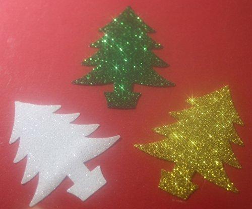 3 SAPINS Noel Blanc-Or -Vert thermocollant hotfix Glitter Bling DIY 6 x 5 cm