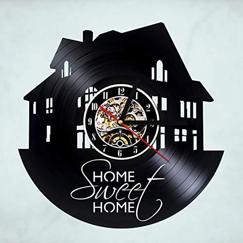 BFMBCHDJ Familienhaus Design Rekorduhr Kreative Sweet Home Handmade Vinyl Wanduhr Retro Art Decor Klassische Antike LED Wanduhr