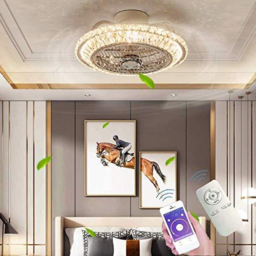 Ouuily Ventilador de Techo LED Moderno Ventilador de Dormitorio Ajustable Luz de Techo Ventilador de Sala de Estar Regulable Luz Ventilador Silencioso Lámpara de Techo de Cristal LED Habitación