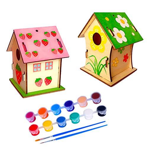 N\\O Miystn Vogelfutterhaus Bausatz, Vogelhaus Bausatz Kinder, Holz Bastelset Kinder, Kind Pädagogisches Woodcraft Puzzlespiel-Spielzeug DIY Installationssatz (2 Stücke, Vogelhaus)