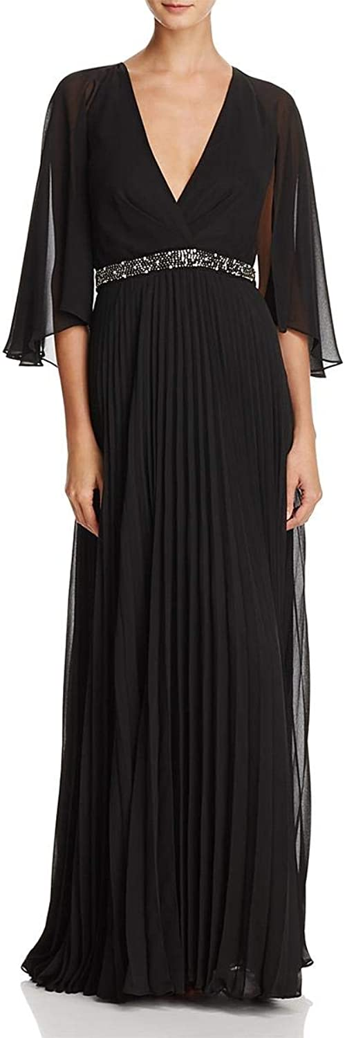 Laundry by Shelli Segal Womens Pleated Cape Back Evening Dress