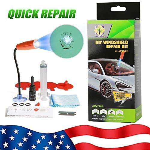 DIY Windshield Repair Kit, 2020 Upgraded with UV Curing Light, Car Glass Repair Tool Set for Half-Moon Cracks and Combination Cracks (Green)
