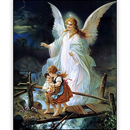 wtnhz Sin Marco ng hueveras, 5D Guardian Angel Kids Picture ng Rhinest de Taladro Redondo Completo 60x90cm