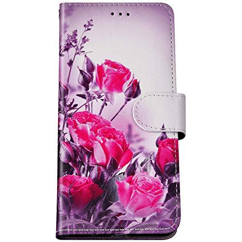 Felfy Kompatibel mit Huawei Honor 9 Lite Hülle Bunte Painted Muster Schutzhülle,Handyhülle für Huawei Honor 9 Lite Magnet Flip Hülle PU Lederhülle Tasche mit Kartenfach/Standfunktion - Sexy Rose