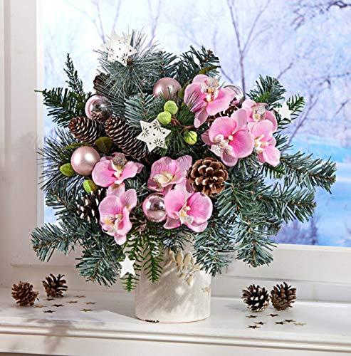 Holzdrehteile Weihnachtsgesteck Weihnachtsstrauß Orchideen Advent Tischdeko Fensterdeko Gesteck Winter Weihnachten