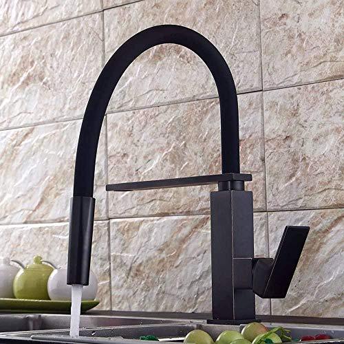 MLFPDXC-Grifo del grifo Grifo giratorio de 360 ° con lavaplatos extraíble Grifo de fregadero de cocina de una sola palanca Grifo de fregadero de cocina extensible negro de latón
