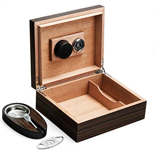 Woodronic Handmade Cigar Humidor with Cigar Cutter and Ashtray for 30-50 Counts, Spanish Cedar Cigar Box Set for Men with Hygrometer Humidifier, Tight Seal for Best Humidity, Great Gift for Father