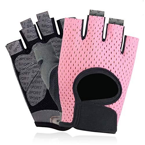 KUOZEN Fitness Handschuhe Trainingshandschuhe Kraftsport Männer Fitnesszubehör für Männer Turnhandschuhe für Frauen mit Handgelenkstütze pink,l