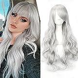 Pelucas mujer gris cosplay anime disfraz largo ondulado con flequillo, YEESHEDO peluca larga y rizada pelo natural sintético completo para niñas 28 pulgadas / 70 cm (Gris plateado)