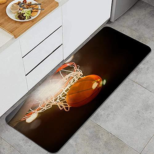 ZORMIEY Alfombras Cocina Lavable Antideslizante Alfombrilla de Goma Alfombra de Baño Alfombrillas Cocina,Baloncesto atravesando la Canasta en un Campo Deportivo,45x120 cm