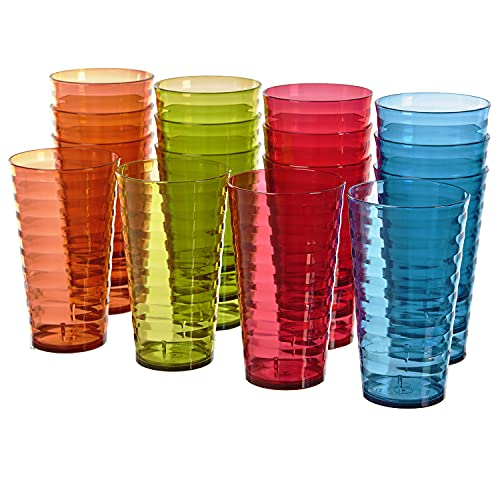 Splash 18-ounce Plastic Tumblers | Value set of 16 in 4 Assorted Colors