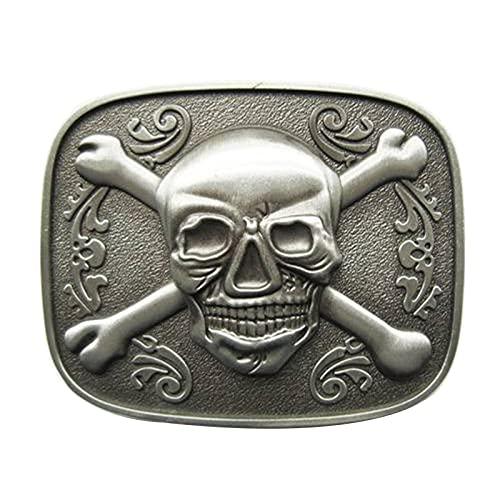LDKJ Hebilla para cinturón de hombre de metal vintage, de repuesto, hebilla de lengüeta rectangular antigua, apta para cinturones de hasta 40 mm de ancho con botón a presión, 5, Medium